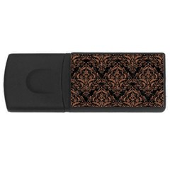 Damask1 Black Marble & Brown Denim (r) Rectangular Usb Flash Drive by trendistuff