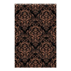 Damask1 Black Marble & Brown Denim (r) Shower Curtain 48  X 72  (small)  by trendistuff