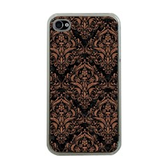 Damask1 Black Marble & Brown Denim (r) Apple Iphone 4 Case (clear) by trendistuff