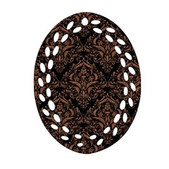 Damask1 Black Marble & Brown Denim (r) Ornament (oval Filigree)
