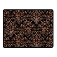 Damask1 Black Marble & Brown Denim (r) Double Sided Fleece Blanket (small)  by trendistuff