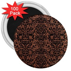 Damask2 Black Marble & Brown Denim 3  Magnets (100 Pack) by trendistuff