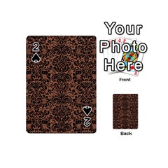 Damask2 Black Marble & Brown Denim Playing Cards 54 (mini)  by trendistuff
