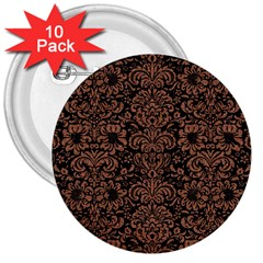 Damask2 Black Marble & Brown Denim (r) 3  Buttons (10 Pack)  by trendistuff
