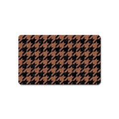 Houndstooth1 Black Marble & Brown Denim Magnet (name Card) by trendistuff