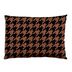 Houndstooth1 Black Marble & Brown Denim Pillow Case by trendistuff