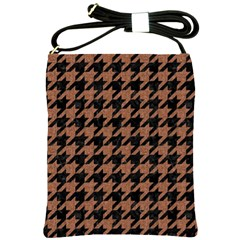 Houndstooth1 Black Marble & Brown Denim Shoulder Sling Bags