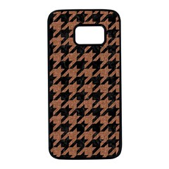 Houndstooth1 Black Marble & Brown Denim Samsung Galaxy S7 Black Seamless Case by trendistuff