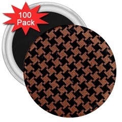 Houndstooth2 Black Marble & Brown Denim 3  Magnets (100 Pack) by trendistuff