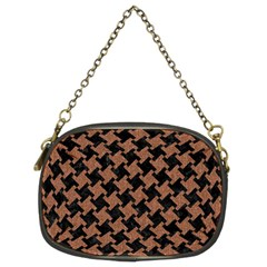 Houndstooth2 Black Marble & Brown Denim Chain Purses (two Sides)  by trendistuff