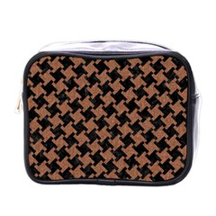 Houndstooth2 Black Marble & Brown Denim Mini Toiletries Bags by trendistuff