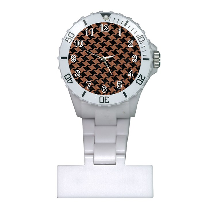HOUNDSTOOTH2 BLACK MARBLE & BROWN DENIM Plastic Nurses Watch