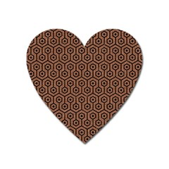 Hexagon1 Black Marble & Brown Denim Heart Magnet by trendistuff