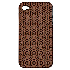 Hexagon1 Black Marble & Brown Denim Apple Iphone 4/4s Hardshell Case (pc+silicone) by trendistuff