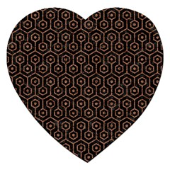 Hexagon1 Black Marble & Brown Denim (r) Jigsaw Puzzle (heart) by trendistuff
