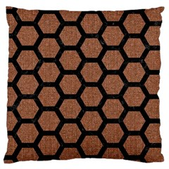 Hexagon2 Black Marble & Brown Denim Large Cushion Case (two Sides) by trendistuff