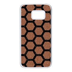 Hexagon2 Black Marble & Brown Denim Samsung Galaxy S7 White Seamless Case by trendistuff