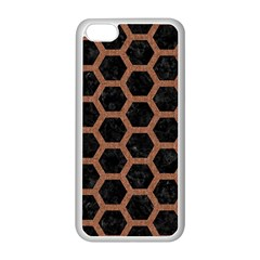 Hexagon2 Black Marble & Brown Denim (r) Apple Iphone 5c Seamless Case (white)