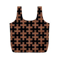 Puzzle1 Black Marble & Brown Denim Full Print Recycle Bags (m)  by trendistuff