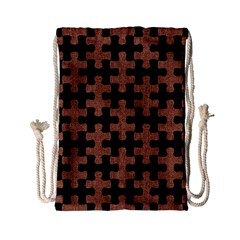 Puzzle1 Black Marble & Brown Denim Drawstring Bag (small) by trendistuff
