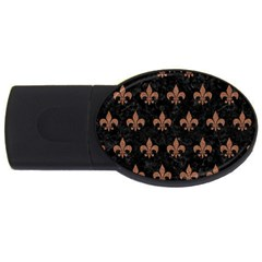 Royal1 Black Marble & Brown Denim Usb Flash Drive Oval (4 Gb) by trendistuff