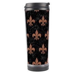 Royal1 Black Marble & Brown Denim Travel Tumbler by trendistuff