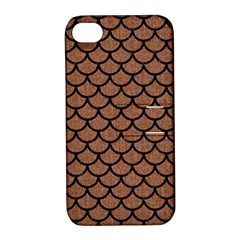 Scales1 Black Marble & Brown Denim Apple Iphone 4/4s Hardshell Case With Stand by trendistuff