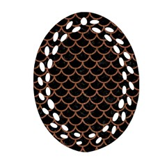 Scales1 Black Marble & Brown Denim (r) Oval Filigree Ornament (two Sides) by trendistuff
