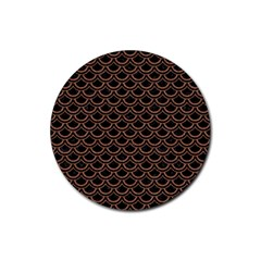 Scales2 Black Marble & Brown Denim (r) Rubber Round Coaster (4 Pack)  by trendistuff
