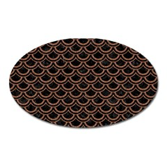 Scales2 Black Marble & Brown Denim (r) Oval Magnet by trendistuff