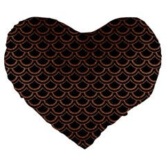 Scales2 Black Marble & Brown Denim (r) Large 19  Premium Flano Heart Shape Cushions by trendistuff