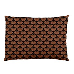Scales3 Black Marble & Brown Denim Pillow Case (two Sides) by trendistuff