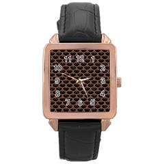 Scales3 Black Marble & Brown Denim (r) Rose Gold Leather Watch  by trendistuff
