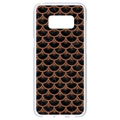 Scales3 Black Marble & Brown Denim (r) Samsung Galaxy S8 White Seamless Case by trendistuff