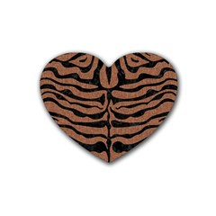 Skin2 Black Marble & Brown Denim Rubber Coaster (heart)  by trendistuff