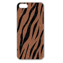 Skin3 Black Marble & Brown Denim Apple Seamless Iphone 5 Case (clear) by trendistuff