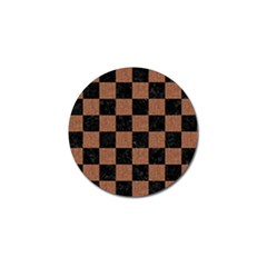 Square1 Black Marble & Brown Denim Golf Ball Marker by trendistuff