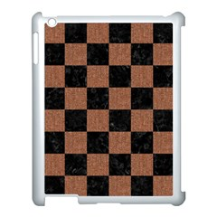 Square1 Black Marble & Brown Denim Apple Ipad 3/4 Case (white) by trendistuff