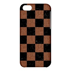 Square1 Black Marble & Brown Denim Apple Iphone 5c Hardshell Case by trendistuff