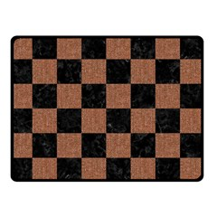 Square1 Black Marble & Brown Denim Double Sided Fleece Blanket (small)  by trendistuff