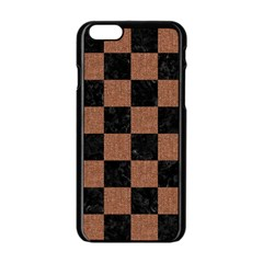 Square1 Black Marble & Brown Denim Apple Iphone 6/6s Black Enamel Case by trendistuff