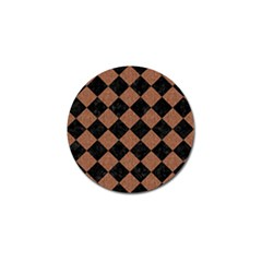 Square2 Black Marble & Brown Denim Golf Ball Marker by trendistuff