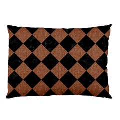 Square2 Black Marble & Brown Denim Pillow Case (two Sides) by trendistuff