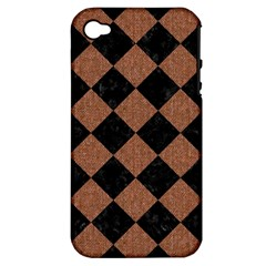 Square2 Black Marble & Brown Denim Apple Iphone 4/4s Hardshell Case (pc+silicone) by trendistuff