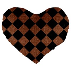 Square2 Black Marble & Brown Denim Large 19  Premium Heart Shape Cushions by trendistuff
