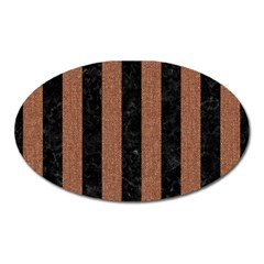 Stripes1 Black Marble & Brown Denim Oval Magnet by trendistuff