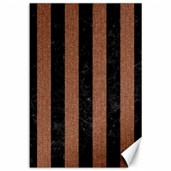 Stripes1 Black Marble & Brown Denim Canvas 12  X 18