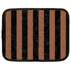 Stripes1 Black Marble & Brown Denim Netbook Case (xxl)  by trendistuff