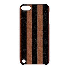 Stripes1 Black Marble & Brown Denim Apple Ipod Touch 5 Hardshell Case With Stand by trendistuff
