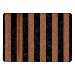 Stripes1 Black Marble & Brown Denim Samsung Galaxy Tab 10 1  P7500 Flip Case by trendistuff
